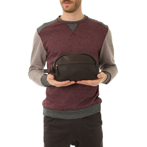 Brown Braden Vegan Leather Dopp Kit