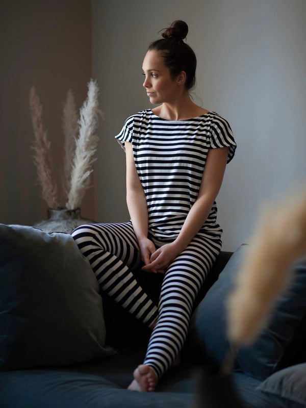 Comfy Copenhagen ApS With Or Without You T-shirt Black / White Stripe