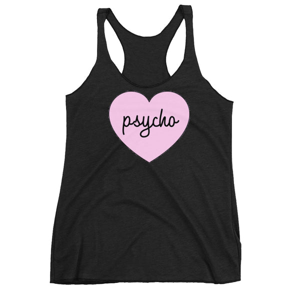 Pink Aesthetic Psycho Heart Racerback Tank - Only At Krooked Panda
