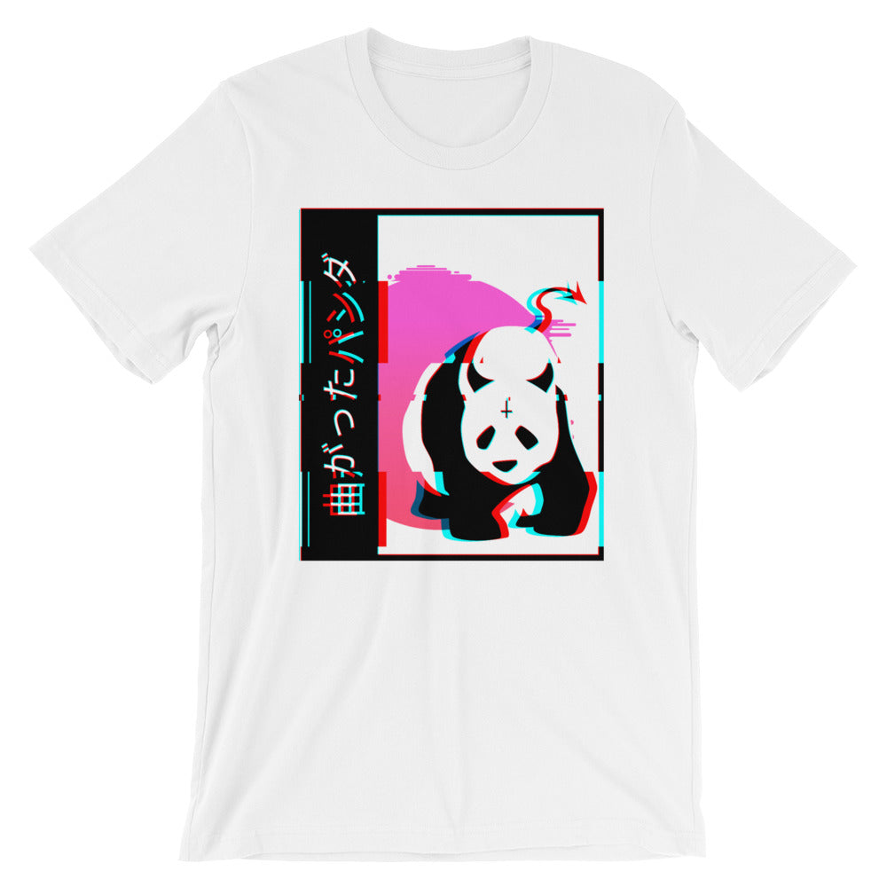 Japanese Devil Panda Glitched Unisex T-Shirt - Only At Krooked Panda