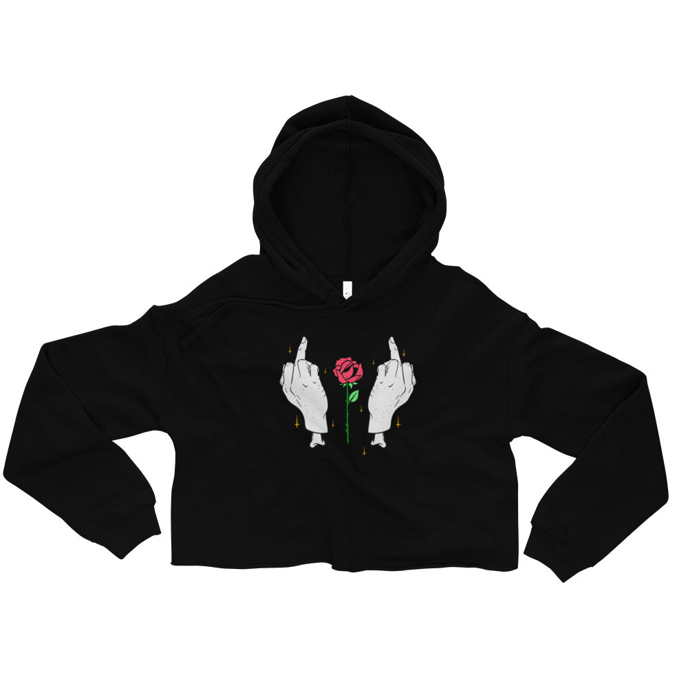 Middle Fingers & Rose Crop Hoodie - Only At Krooked Panda