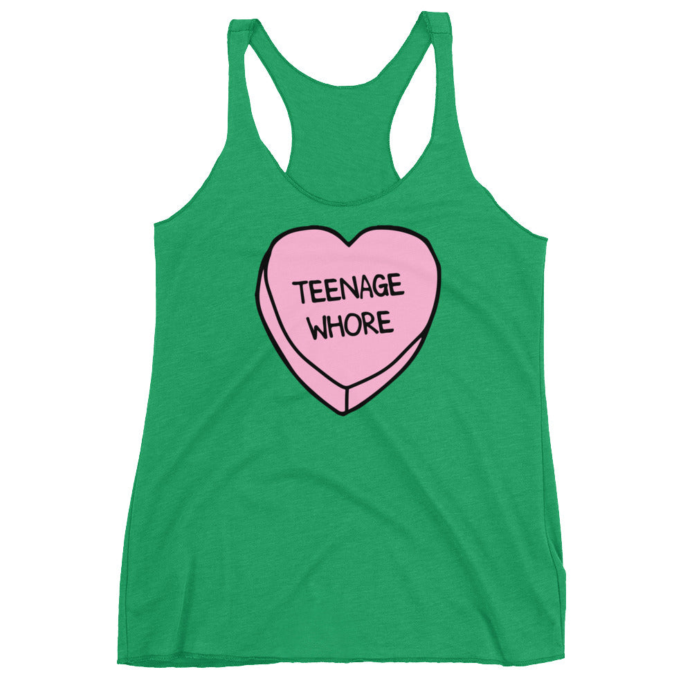 Teenage Whore Candy Heart Racerback Tank - Only At Krooked Panda