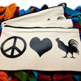 Peace Love Chickens Themed Canvas Make Up Case Pencil Pouch Accessory Bag