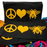 beekeeping canva bag honeybee makeup pouch pencil holder zippered