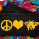 peace love bees beekeeping canva bag honeybee makeup pouch pencil holder zippered