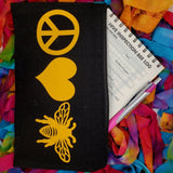 peace love bees cosmetic bag canvas pencil pouch beekeeper gifts