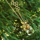 gold honey bee honeycomb honey pot dangling necklace