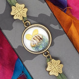 handmade save the bees bracelet  top view
