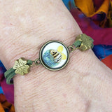 handmade save the bees bracelet  on wrist