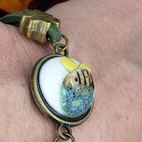 handmade save the bees bracelet  3 dimensional bee charm