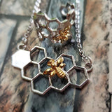 two tone gold silver honeycomb bar necklace and honeycomb ring set beekeeping jewelry gifts