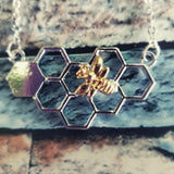 two tone gold silver honeycomb bar necklace beekeeping jewelry gifts