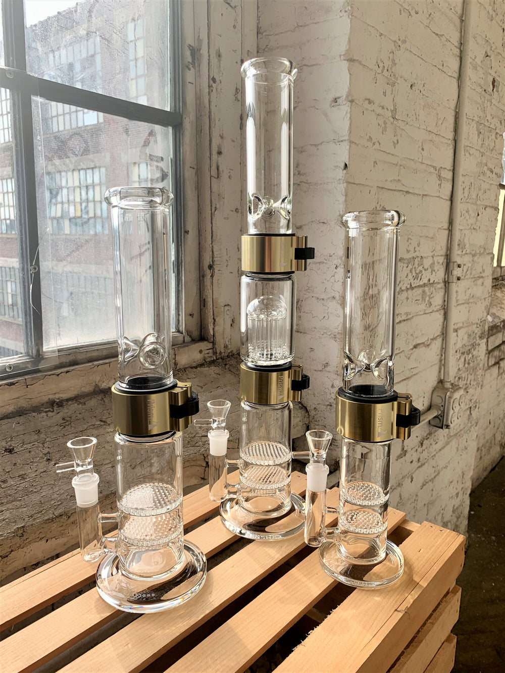 Prism addresses the issues of traditional waterpipes making a custom bong possible. With a variety of bong styles you can create your own custom bong whether its a tall bong or small bong. Also, it's now easy to clean your bong and travel with your bong.