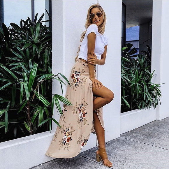Long Floral Hot Waist Skirt
