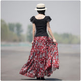 Floral Red Pleated Boho Skirt