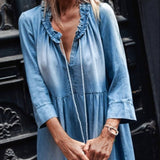 Bohemian Women Denim  Ruffle V-Neck Dress