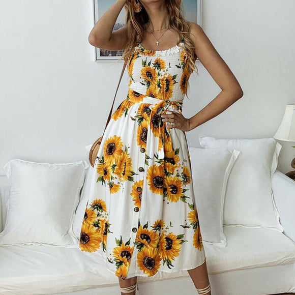 Floral Sleeveless Long Dress