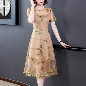 2020 Spring Summer Lace Embroidery Midi Dresses Vintage 3XL Plus Size Floral Runway Dresses Elegant Women Bodycon Party Vestidos