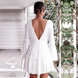 Mini White V-neck Party Dress