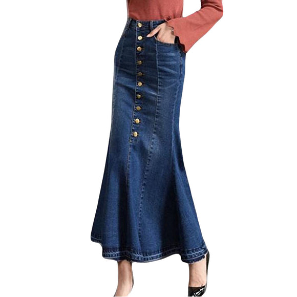 Denim Office Maxi Long Skirt