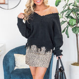 Long Knitted Loose VNeck Sweater
