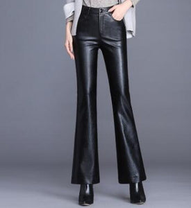 Women Leather Flare Leather High