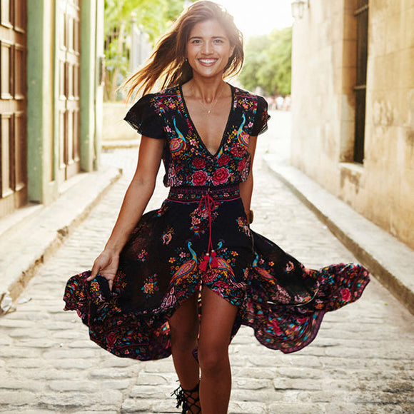 People Sexy Boho Vestidos Dress