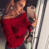 Winter Long Off-Shoulder Pullovers Autumn