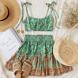 Set Straps Floral Pleated Inspired Dress