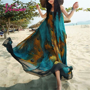Loose Swing Long Feather Sleeveless Dress
