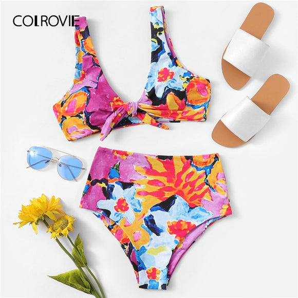 Multicolor Random Floral Top Swimwear