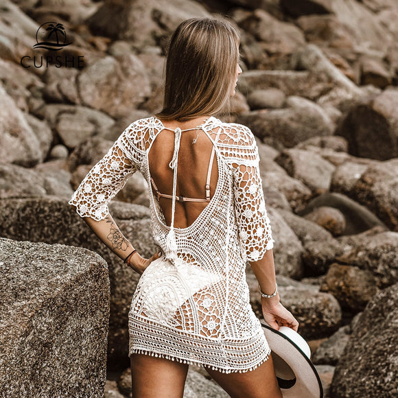 CUPSHE Apricot Boho Hollow-Out Cover Up Sexy  Beach Mini Dress