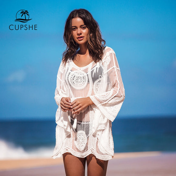 CUPSHE White Boho Floral Cover  Beach Mini Dress