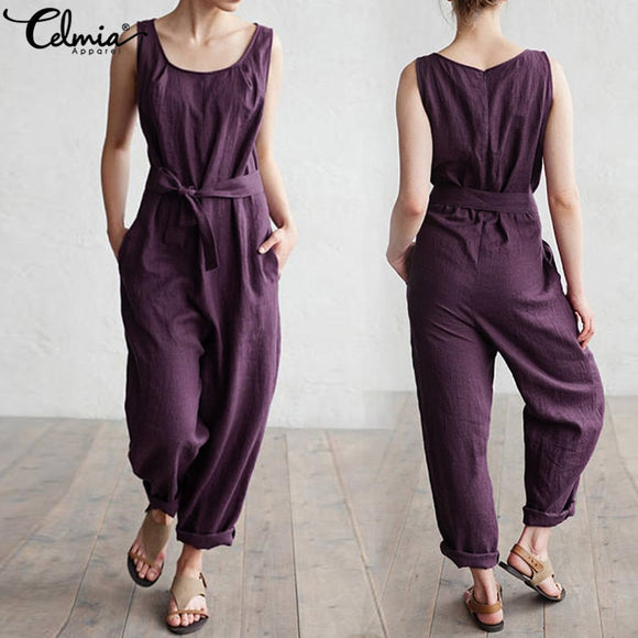 Solid Sleeveless Linen Jumpsuit
