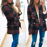 Plaid Notched Collar Blazer