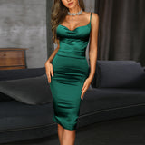 Neck Midi Party Spaghetti Bodycon Dress