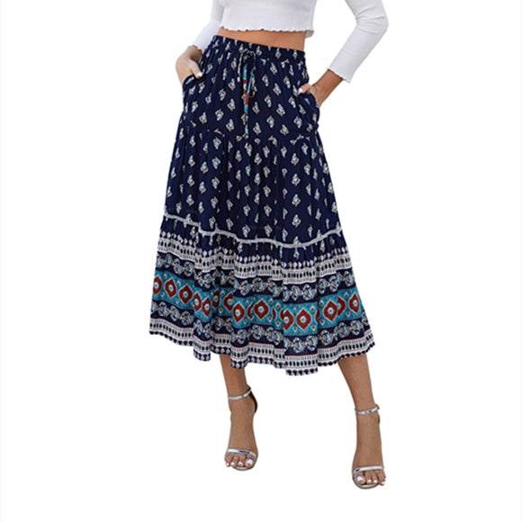 High Print Navy Skirt