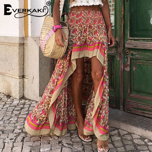 Everkaki Boho Print Long Skirts