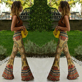 Fashion Flower High Waist Boho Pants Womens Pant Floral Printed Bell Bottom Wide Leg Flare Stretch Size SMLXL