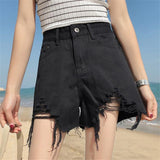 High Denim Tassel Loose Vintage Shorts