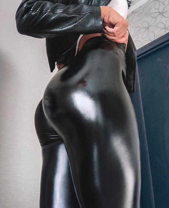 Leather Waist Pu Leather Stretch Leggings
