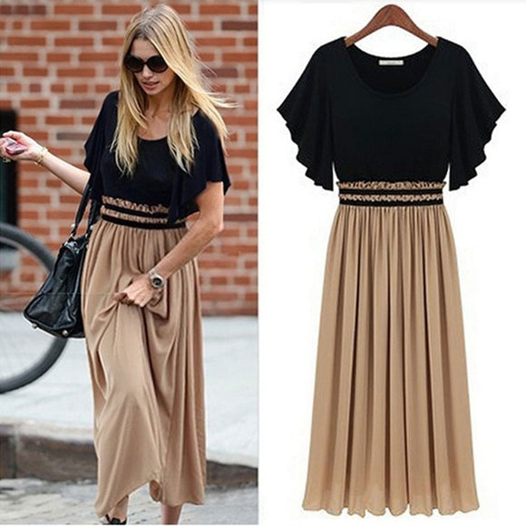 Pleated Round Set Neck Waist Dress