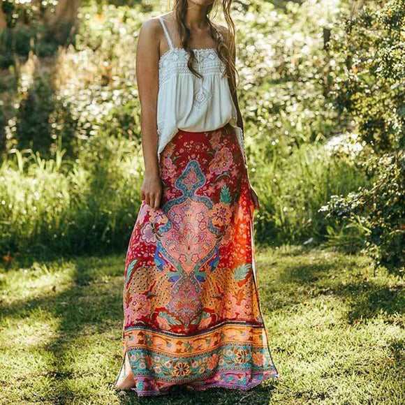 Summer Maxi Skirt Floral Print Lotus