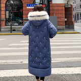 Fur X-long Hooded Cotton Jacket