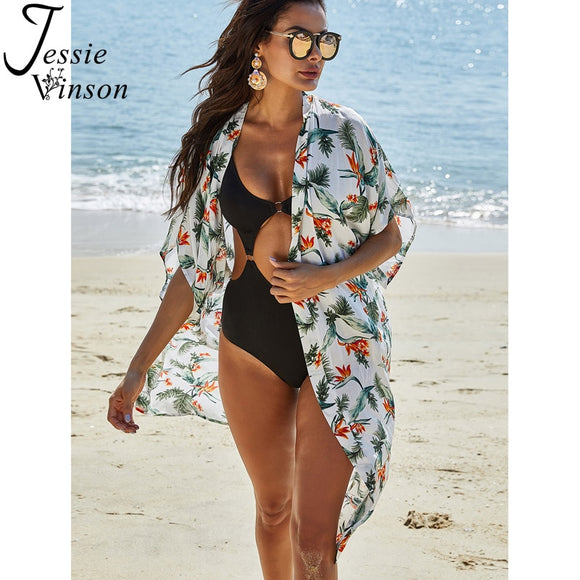 Beach Cover-up Women Boho Floral Kimono