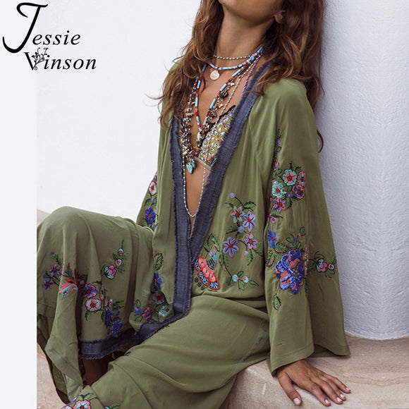 Plus Size Long Sleeve Perspective Embroidery Boho Kimono