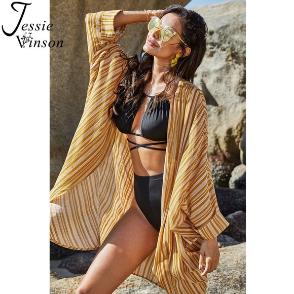 Yellow Stripes Cover-ups Long Kimono