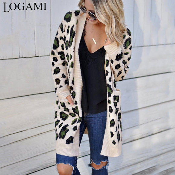 Leopard Long Sweaters Coat