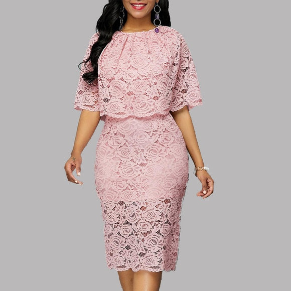Vestidos Five-point Lace Round Party Dress