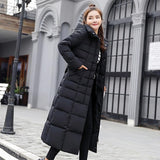 Long Slim Solid Color Warm Parka